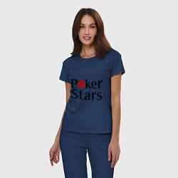 Пижама хлопковая женская Poker Stars цвета тёмно-синий — фото 2