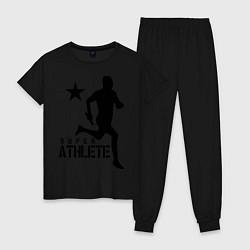 Пижама хлопковая женская Лёгкая атлетика цвета черный — фото 1
