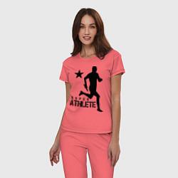 Пижама хлопковая женская Лёгкая атлетика цвета коралловый — фото 2