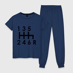 Пижама хлопковая женская Коробка передач цвета тёмно-синий — фото 1