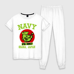 Пижама хлопковая женская Navy: Po-1967 цвета белый — фото 1