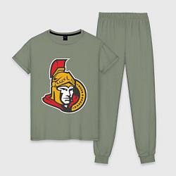 Пижама хлопковая женская Ottawa Senators цвета авокадо — фото 1