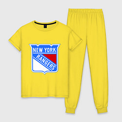 Пижама хлопковая женская New York Rangers цвета желтый — фото 1
