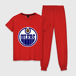 Пижама хлопковая женская Edmonton Oilers цвета красный — фото 1