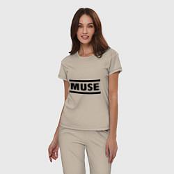 Пижама хлопковая женская Muse цвета миндальный — фото 2