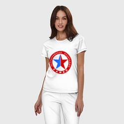 Пижама хлопковая женская Федерация САМБО цвета белый — фото 2