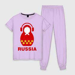 Пижама хлопковая женская Russia dj цвета лаванда — фото 1