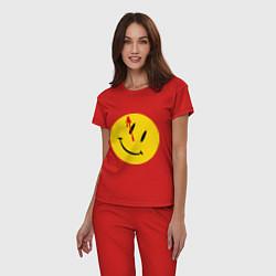 Пижама хлопковая женская Cмайл с кровью цвета красный — фото 2
