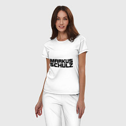 Пижама хлопковая женская Markus Schulz цвета белый — фото 2