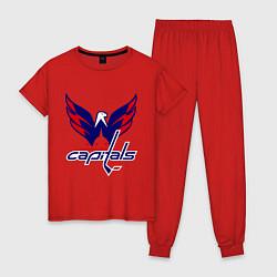 Пижама хлопковая женская Washington Capitals: Ovechkin цвета красный — фото 1