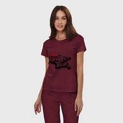 Пижама хлопковая женская AND1 Mixtape tour цвета меланж-бордовый — фото 2