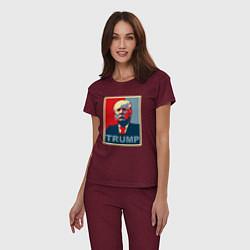 Пижама хлопковая женская Trump Cover цвета меланж-бордовый — фото 2