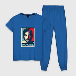 Пижама хлопковая женская Lennon Imagine цвета синий — фото 1