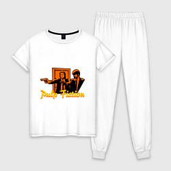 Пижама хлопковая женская Pulp Fiction цвета белый — фото 1