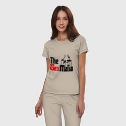 Пижама хлопковая женская The SexMafia цвета миндальный — фото 2
