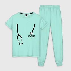 Пижама хлопковая женская Love Dr. House цвета мятный — фото 1