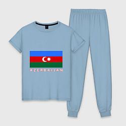 Пижама хлопковая женская Азербайджан цвета мягкое небо — фото 1