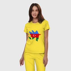 Пижама хлопковая женская Azerbaijan map цвета желтый — фото 2