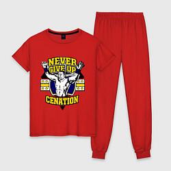 Пижама хлопковая женская Never Give Up: Cenation цвета красный — фото 1