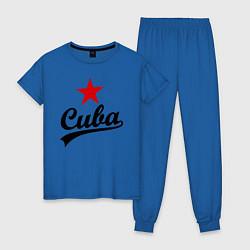 Пижама хлопковая женская Cuba Star цвета синий — фото 1