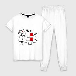 Пижама хлопковая женская Yap: Our love story цвета белый — фото 1