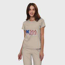Пижама хлопковая женская KIss USA цвета миндальный — фото 2