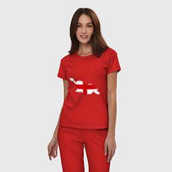 Пижама хлопковая женская Грузия (Georgia) цвета красный — фото 2