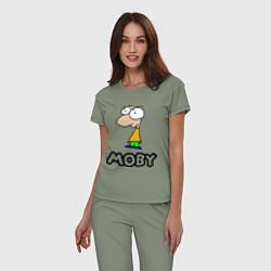Пижама хлопковая женская Moby цвета авокадо — фото 2