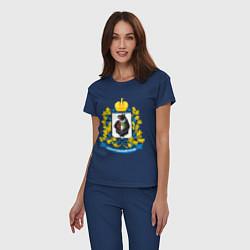Пижама хлопковая женская Хабаровский край цвета тёмно-синий — фото 2