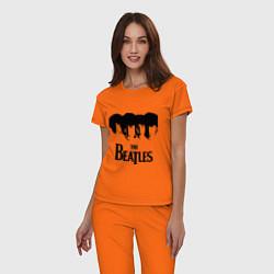 Пижама хлопковая женская The Beatles: Faces цвета оранжевый — фото 2