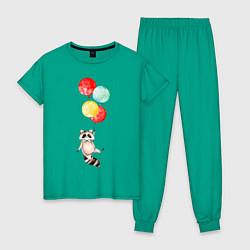 Пижама хлопковая женская Енот на шариках цвета зеленый — фото 1