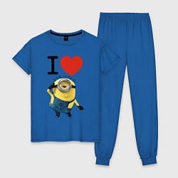 Пижама хлопковая женская I love Minion цвета синий — фото 1