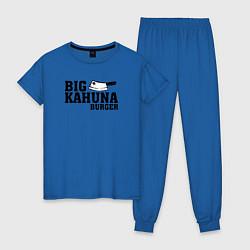 Пижама хлопковая женская Big Kahuna Burger цвета синий — фото 1