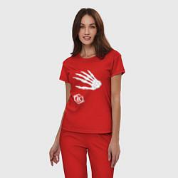 Пижама хлопковая женская Кукрыниксы: Кости цвета красный — фото 2