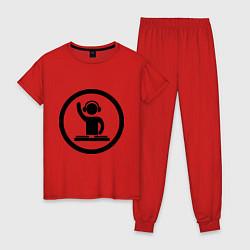 Пижама хлопковая женская Dj за пультом цвета красный — фото 1