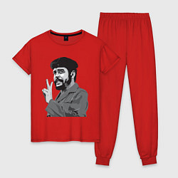 Пижама хлопковая женская Che Guevara: Peace цвета красный — фото 1