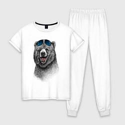 Пижама хлопковая женская Медведь в очках цвета белый — фото 1
