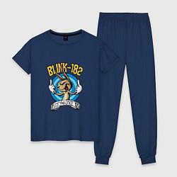 Пижама хлопковая женская Blink-182: Fuck you цвета тёмно-синий — фото 1