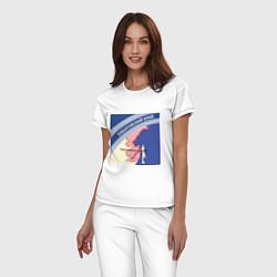 Пижама хлопковая женская Беломор: Хабаровский край цвета белый — фото 2