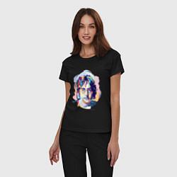 Пижама хлопковая женская John Lennon: Art цвета черный — фото 2