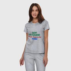 Пижама хлопковая женская SPSU цвета меланж — фото 2