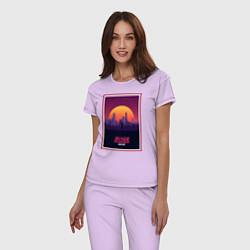 Пижама хлопковая женская Бегущий по лезвию 2049 цвета лаванда — фото 2