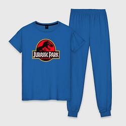 Пижама хлопковая женская Jurassic Park цвета синий — фото 1