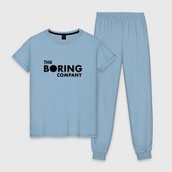 Пижама хлопковая женская The boring company цвета мягкое небо — фото 1