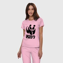 Пижама хлопковая женская KISS Panda цвета светло-розовый — фото 2