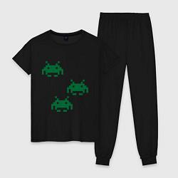Пижама хлопковая женская Space invaders 8 bit цвета черный — фото 1
