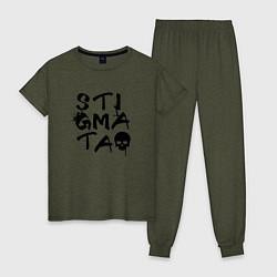 Пижама хлопковая женская Stigmata цвета меланж-хаки — фото 1