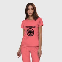 Пижама хлопковая женская The Offspring цвета коралловый — фото 2