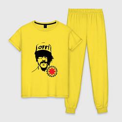 Пижама хлопковая женская Red Hot Chili Peppers: Off цвета желтый — фото 1
