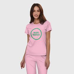 Пижама хлопковая женская 99.8% Match цвета светло-розовый — фото 2